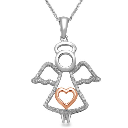 18k Rose Gold Plated Sterling Silver Angel Pendant Necklace (1/5 cttw, I-J Color, I3 Clarity), 18