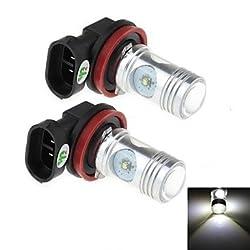 See 2Pcs H8 20W 4-Cree XP-E 1800lm 6000K White Light LED for Car Headlamp / Fog Light Lamp (DC 12-24V) Details