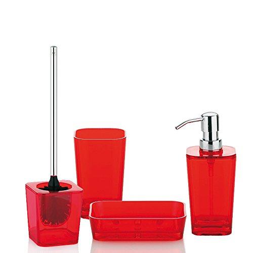 Juegos De Baño Rojos:Kela 390053 Kristall – Juego de accesorios para baño (4 piezas