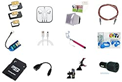Hunky Original Combo Of 12 - 3D Mobile Screen Enlarge , Earphone With Mic , Braided Unbreakable Aux Cable , Wired Selfie Stick , Car Mobile Holder , Double USB Car Charger , OTG Cable , Datacable , Mobile Bracket Stand , Card Reader , Sim Adapters , Micro SD TF to SD Memory Card Adapter