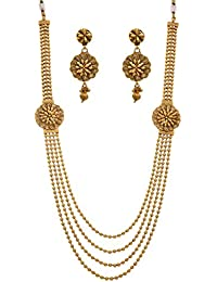 JFL - Glorious Gold Bead One Gram Gold Plated Designer Long Necklace Set For Girls And Women.