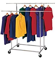 "Hot Sale Dual Rod Collapsible Garment Rack on Wheels (Chrome) (57""-66.5"" H X 50.3-74.5"" W X 32"" D)"