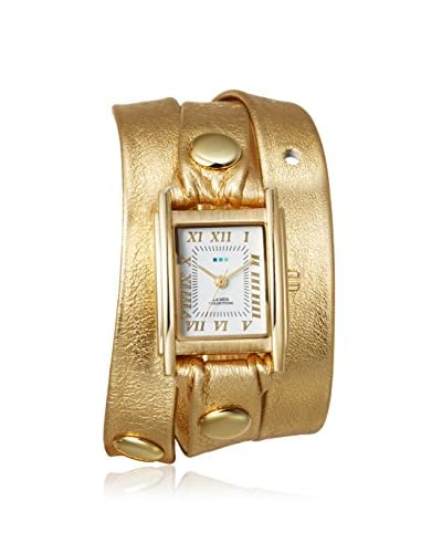 La Mer Collections Women's LMMTW1001 Simple Gold/White Leather Wrap Watch As You See