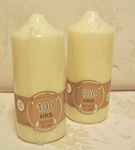 2X 100 Hour Large Church Pillar Candle - Cream / Ivory Quality Candle