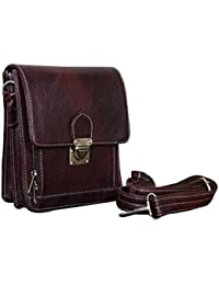 Attache Genuine Leather Messenger / Side / Sling Bag (Brown)