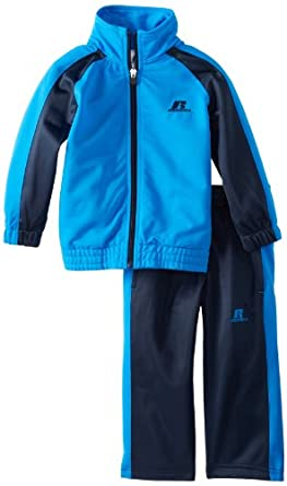 Russell Athletic Boys 2-7 Colorblock Tricot Track Set, Blue/Dark Navy, 2/Toddler