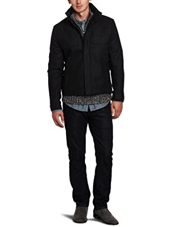 Calvin Klein Men's Patterned Bomber Jacket, Charcoal, Small