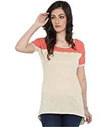 Bedazzle Casual Off White With Peach Net Women's Top
