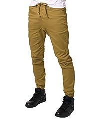 JD Apparel Men\'s Slim Fit Drawstring Harem Jogger Pants 2X Large Wheat