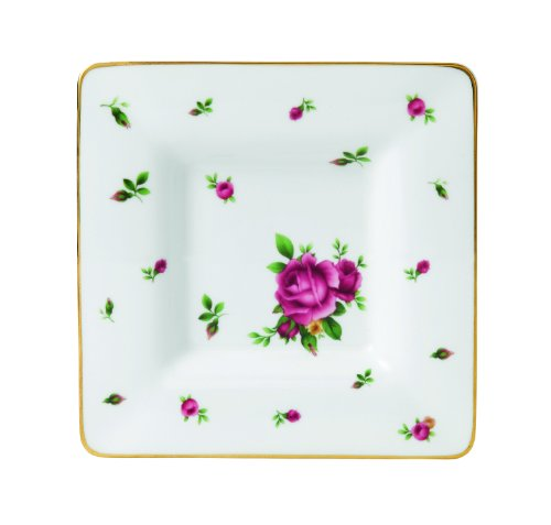 Royal Albert New Country Roses Square Trinket Tray, White