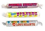 Swizzels Matlow Giant Parma Violets, Fizzers & Love Hearts - 3 Rolls