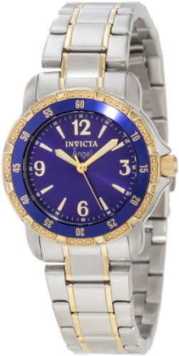 Invicta Women's 0548 Angel Collection 18k Gold-Plated and Stainless Steel Watch (Ladies Blue Dial Watch compare prices)