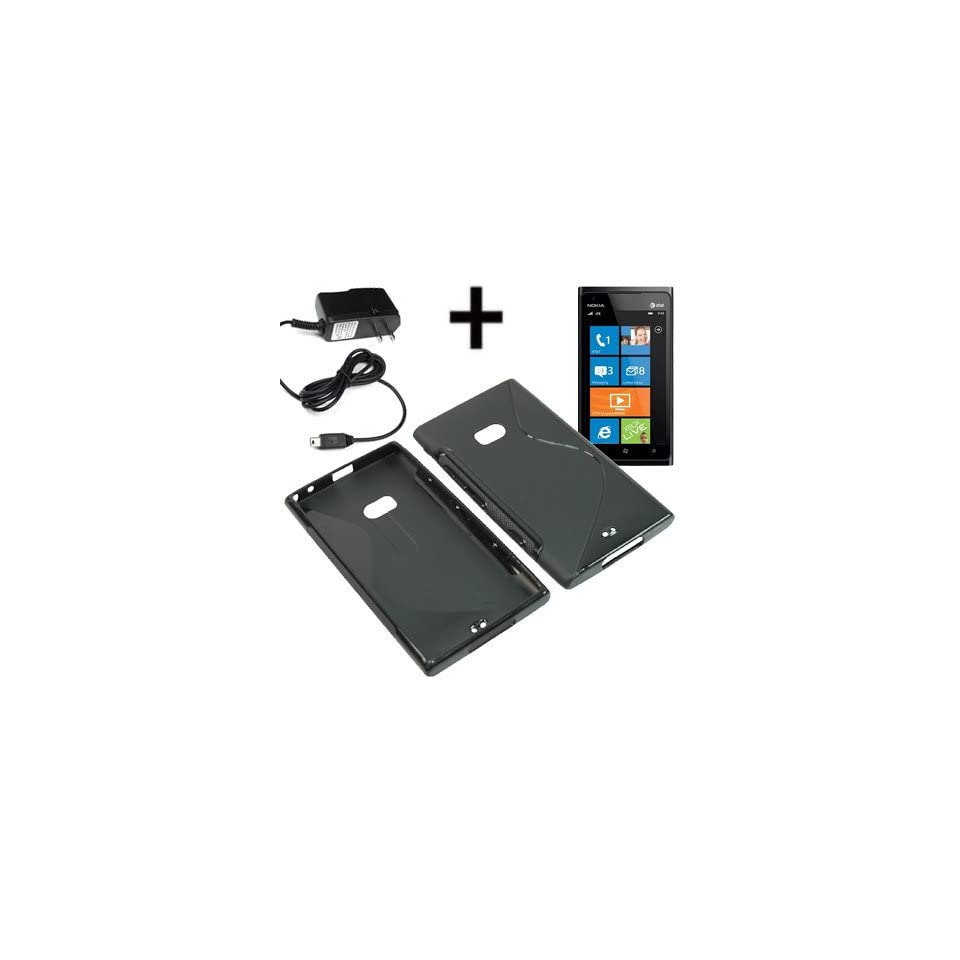 BW TPU Sleeve Gel Cover Skin Case for AT&T Nokia Lumia 900 + Travel Charger Black