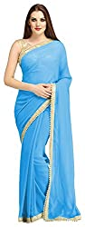 AVSAR PRINTS Women's Georgette Saree with Blouse Piece (Turquoise)