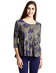 Roxy Women's Peplum Top (ARJWT03068_Indo Floral and Dusty Olive_XS)