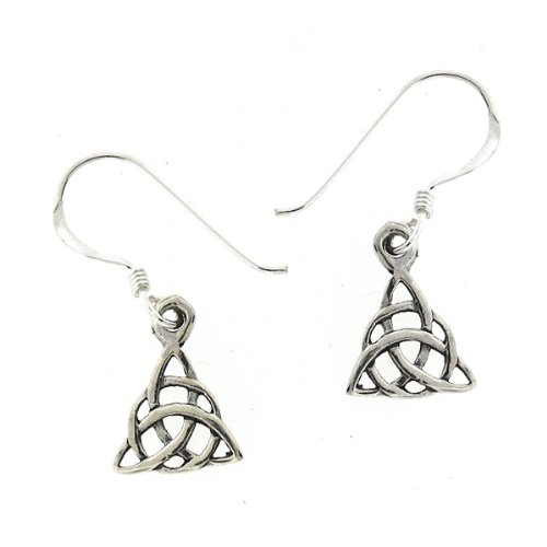 .925 Sterling Silver Nickel Free Holy Trinity Trefoil Knot Celtic Triquetra French Hook Earrings