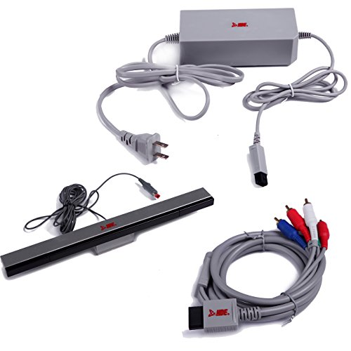 HDE Nintendo Wii AC Power Adapter Block, Component A/V HDTV Cable, and Wired Motion Sensor Bar for Nintendo Wii (Wii Power Brick compare prices)