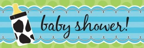 Creative Converting Baby Boy Cow Print Giant Baby Shower Banner - 1