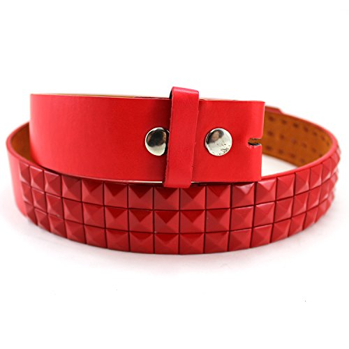 Enimay Solid Color Studded Belts With No Buckle Red Medium