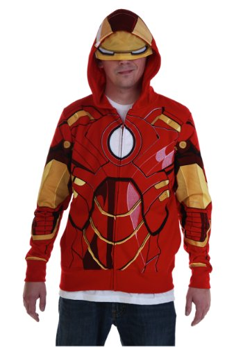 Iron Man Marvel Adult Costume Hoodie Sweatshirt Red Medium