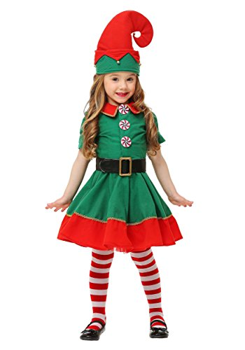 [Fun Costumes girls Toddler Holiday Elf Costume 4T] (Peppermint Costumes)
