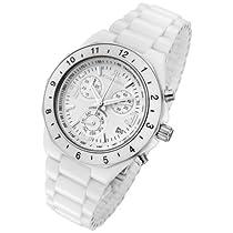 Rougois White Ceramic Ladies Chronograph Watch