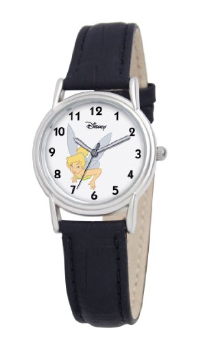 Disney Women's D089S005 Tinker Bell Black Leather Strap Watch