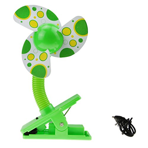 BXT USB/Battery Powered Baby Infant Toddler Safety Clip-On Mini Stroller Fan for Strollers Baby Cots Playpens Buggy Pram - Green (Foam Clip On Fan compare prices)