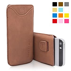 Snugg iPhone 5 / 5S Case - Leather Pouch with Lifetime Guarantee ('Distressed' Brown) for Apple iPhone 5 / 5S