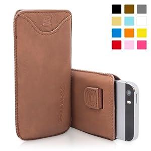 Snugg - Funda De Cuero Con Una Garantía De Por Vida, para Apple iPhone 5 / 5s, marrón