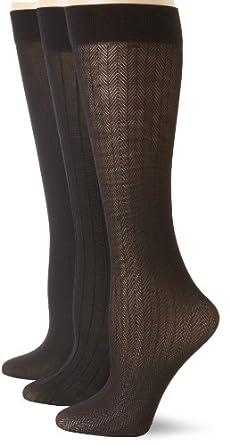 Anne Klein Women's 3 Pair Pack Herringbone Trouser Socks, Black/Black/Black, One Size