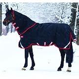 Horseware Rambo Supreme Couverture pour cheval à couches superposées et couvre-cou amovible Noir/rouge 450 g schwarz- rot 155