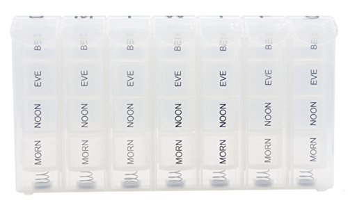 PuTwo Pill Box Removable and Portable Case Organizer with Pill Box Mediplanner contains 28 Compartments - Clear (Clear Pill Container compare prices)
