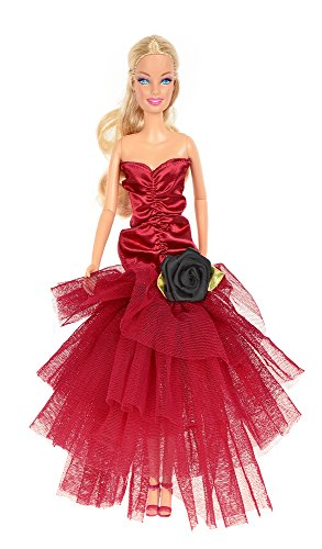 Banana Kong Doll's Red Wedding Gown Yarn Princess Dress