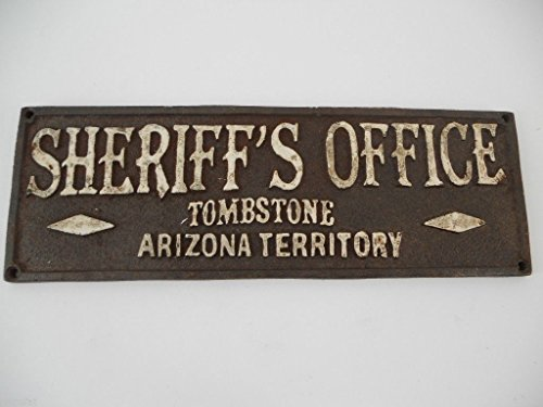 Sheriff'S Office Tombstone Arizona Sign Plaque Lawman Old West Western Cast Iron Plate