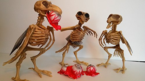 [Halloween Bird Skeleton Decorations Carrying 5 Creepy Bloody Gouged Out Eyeballs - 3 Life Size Standing Skeletal Crows 7