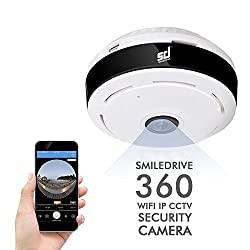 Smiledrive Panoramic 360 Degree Wifi CCTV Wireless Security IP Camera- 960P Plug & Play Security Cam with Night Vision IR cut, Two-way talk and Motion Detection Functions