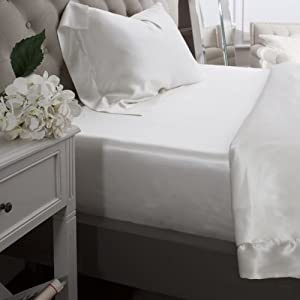 Jasmine Silk 100% Muberry 19MM Charmeuse Silk Fitted Sheet (IVORY)   DOUBLE 140 x 190 + 26 cm       review and more information