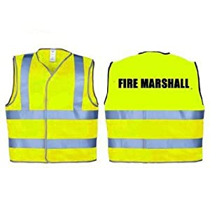 FIRE MARSHALL High Visibility Reflective Vest / Jacket (Zip Front) THE-SECURITY-STORE