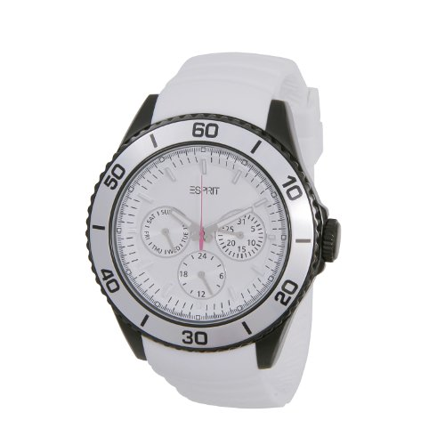 Esprit ES103622005 - Reloj cronógrafo de cuarzo unisex con correa de caucho, color blanco
