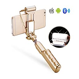Selfie Stick, Selfie-Portrait Monopod with Build-in Bluetooth Shutter,Rear Mirror and LED Fill Light for iPhone and Samsung,Huawei All Android Cellphones (Gold)