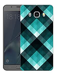 "Turquoise Checks Printed Designer Mobile Back Cover For ""Samsung Galaxy J5 2016 Edition"" (3D, Matte, Premium Quality Snap On Case)"