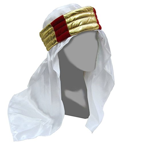 Satin Sheikh Headpiece with Gold and Red Band (Arabian Head Bands compare prices)