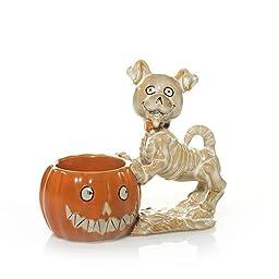 Yankee Candle Bonesy & Pumpkin Halloween Tea Light Candle Holder - Yankee Candle Tea Light Candle Holder
