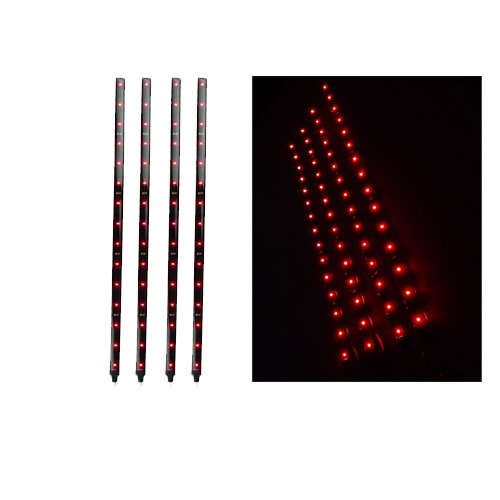 Image® 4 Pcs Set 15 Led Red Strip Motorcycle Car Lights Waterproof Flexible Strip Light