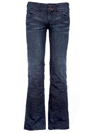 HINT Brand Bootcut Flared Jeans New Ladies Sexy Trousers All waist size Dark Blue Colour (34)