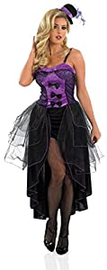 PURPLE BURLESQUE Adult Fancy Dress Costume All Sizes