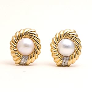 Estate Diamond Pearl 18k Gold Earrings