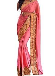 Meet Enterprise New Pink Pure Fabrics Party Wear Saree