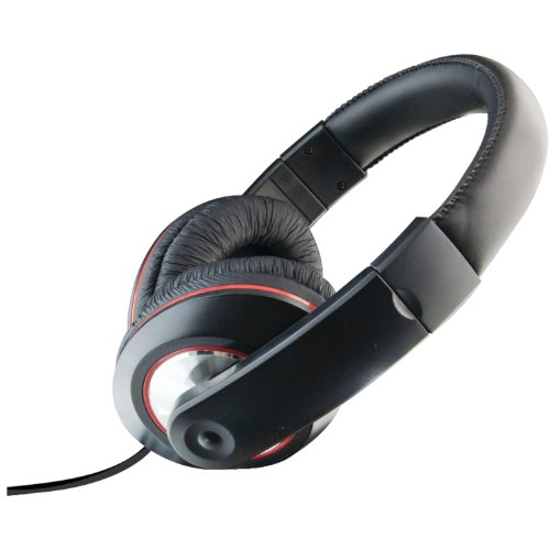 Ilive Iahv62B Dj Headphones With Mic And Volume Control Black/Red